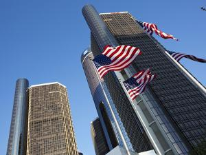 American Flags, General Motors Corporate Headquarters, Renaissance Center, Detroit, Michigan, Usa by Paul Souders