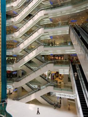 Atrium of New World City Shopping Mall near People's Square and Nanjing Road, Shanghai, China by Paul Souders