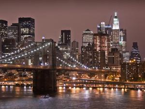 Brooklyn Bridge, East River with Lower Manhattan Skyline in Distance, Brooklyn, New York, Usa by Paul Souders