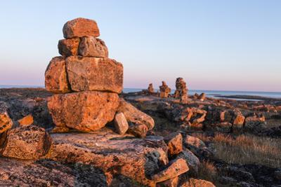 Canada, Nunavut, Territory, Stone Cairn on Harbor Islands at Sunset by Paul Souders
