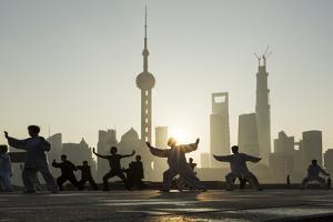 China, Shanghai, Martial Arts Group Practicing Tai Chi at Dawn by Paul Souders