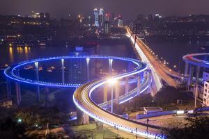 China, Traffic Lights on Caiyuanba Bridge Spanning Yangtze River by Paul Souders
