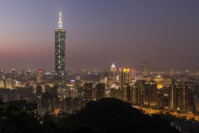 City Skyline at Dusk, Taipei, Taiwan by Paul Souders