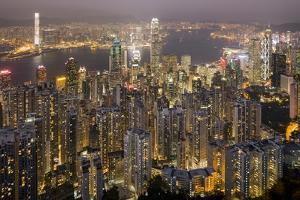 City Skyline from Victoria Peak, Hong Kong, China by Paul Souders