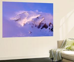 Clouds Wrapped Summit of Mount Rainier, Mt Rainier National Park, Washington, USA by Paul Souders