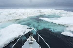 Expedition Boat and Sea Ice, Hudson Bay, Nunavut, Canada by Paul Souders