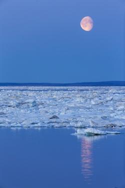 Full Moon and Melting Sea Ice, Repulse Bay, Nunavut Territory, Canada by Paul Souders