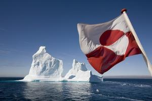 Greenland Flag on Arctic Umiaq Line Ferry by Paul Souders