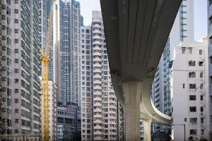 Highway Overpass and Apartment Towers, Hong Kong, China by Paul Souders