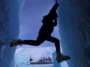 Ice Climbing on Portage Lake, Chugach National Forest, Alaska, USA by Paul Souders