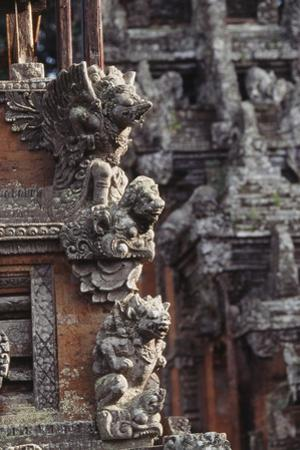 Indonesia, Bali, Ubud, Carvings in Temple in Monkey Forest Sanctuary by Paul Souders