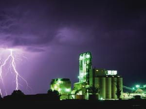 Lightning Striking near Factory in Texas by Paul Souders