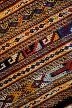Mexico, Oaxaca, Detail of hand-woven rug using Zapotec Indian design by Paul Souders
