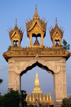 Pha That Luang Gate and Stupa by Paul Souders