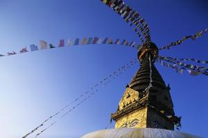 Prayer Flags Hanging from Swayambhunath Stupa by Paul Souders