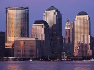 Setting Sun Reflects Off Building Windows on Manhattan Skyline, New York City, New York, Usa by Paul Souders