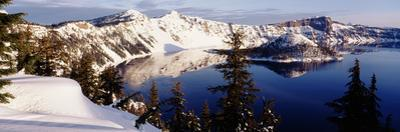 Snow-Covered Mountains with Crater Lake, Crater Lake National Park, Oregon, USA