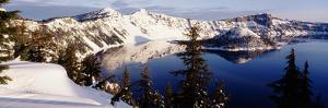 Snow-Covered Mountains with Crater Lake, Crater Lake National Park, Oregon, USA by Paul Souders