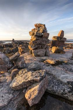 Stone Cairns in Arctic, Nunavut Territory, Canada by Paul Souders