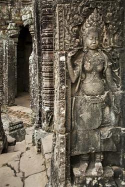 Stone Carving of Apsara at Angkor Wat, Cambodia by Paul Souders