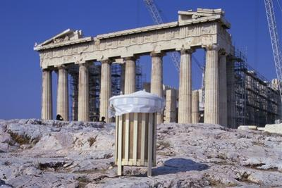 Trash Can in Front of the Parthenon