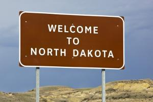 Welcome to North Dakota Sign by Paul Souders