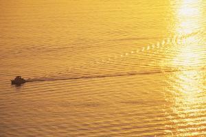 Yacht on Elliott Bay at Sunset by Paul Souders