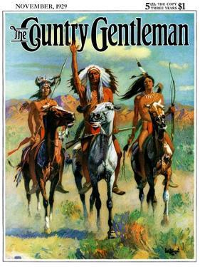 """Indians on Horseback,"" Country Gentleman Cover, November 1, 1929 by Paul Strayer"