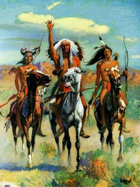 """Indians on Horseback,""November 1, 1929 by Paul Strayer"