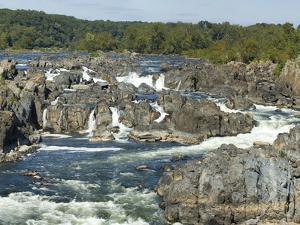 Panoramic of Potomac River Rushing Through Rocks at Great Falls by Paul Sutherland