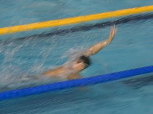 Action of Male Backstroke Swimmer, Athens, Greece by Paul Sutton