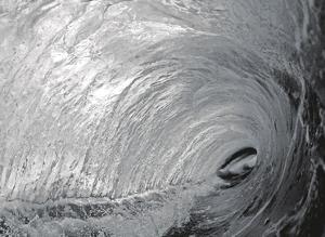 Black and White Tube Barrel - Hawaiian Breaking Wave - Hawaii by Paul Topp