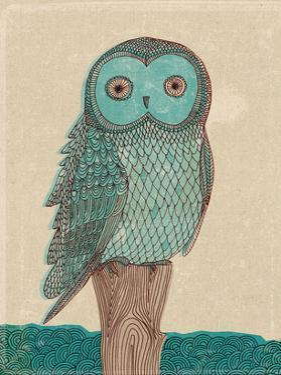 Owl In Blue Monotone by Paula Mills