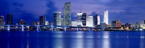 Panoramic View of an Urban Skyline at Night, Miami, Florida, USA by Paula Scaletta