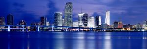 Panoramic View of an Urban Skyline at Night, Miami, Florida, USA by Paula Scaletta