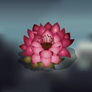 Lotus Flower over Blur Isolated Icon Design by Paulo Gomez