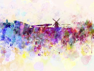 Amsterdam Skyline in Watercolor Background by paulrommer