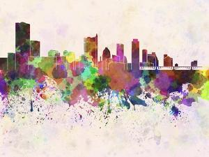 Austin Skyline in Watercolor Background by paulrommer