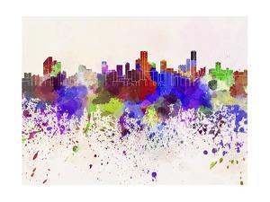 Bogota Skyline in Watercolor Background by paulrommer