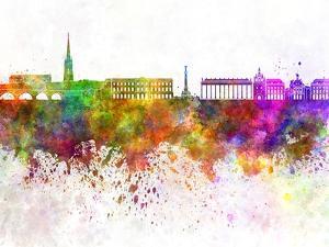 Bordeaux Skyline in Watercolor Background by paulrommer