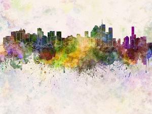 Brisbane Skyline in Watercolor Background by paulrommer