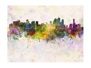 Brisbane Skyline in Watercolor Background by paulrommer