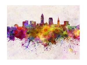 Cleveland Skyline in Watercolor Background by paulrommer