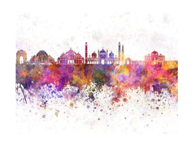 Delhi Skyline in Watercolor Background by paulrommer