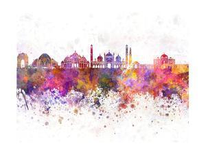 Delhi Skyline in Watercolor Background by paulrommer
