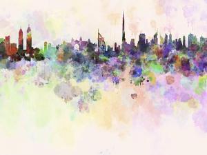 Dubai Skyline in Watercolor Background by paulrommer