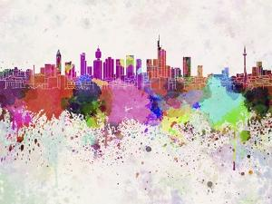 Frankfurt Skyline in Watercolor Background by paulrommer
