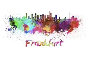 Frankfurt Skyline in Watercolor by paulrommer