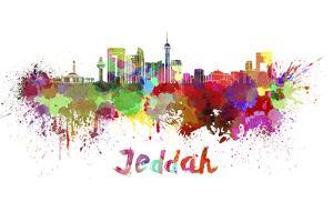 Jeddah Skyline in Watercolor by paulrommer