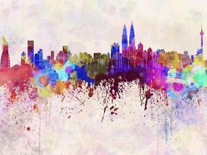 Kuala Lumpur Skyline in Watercolor Background by paulrommer